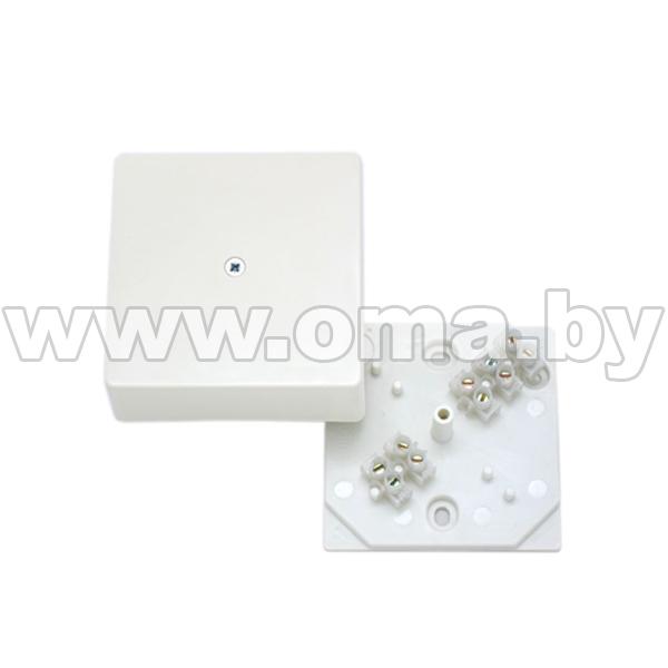 Купить Коробка монтажная, разветвительная для открытой установки прямоугольная с клеммником КРК2702-И (г/р 75х75х30)мм HEGEL