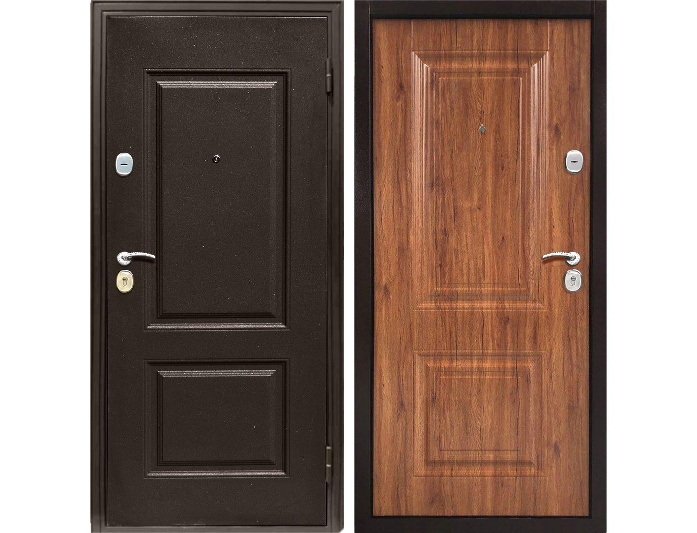Купить со скидкой Дверь металлическая входная Классика античный орех 2050*960 R